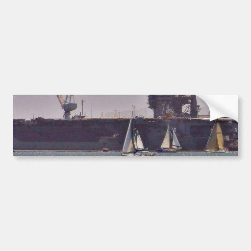 Naves de los barcos de portaaviones etiqueta de parachoque