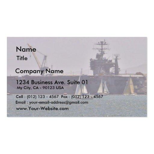 Naves de los barcos de portaaviones plantilla de tarjeta personal