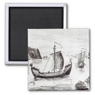 Naves de Viking Imán Cuadrado