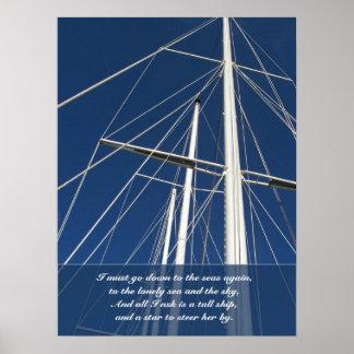 Naves del poema del mar y del cielo que aparejan póster
