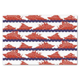 Naves del rojo en ondas azules náuticas papel de seda pequeño