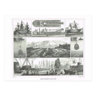 Naves en dique seco y puerto postales