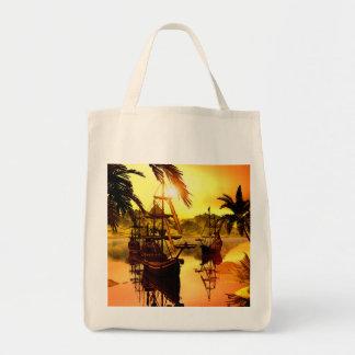 Naves en la puesta del sol bolsa tela para la compra
