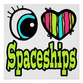 Naves espaciales brillantes del amor del corazón I Poster