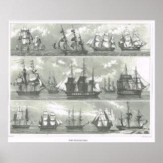 Naves europeas de diversas funciones impresiones
