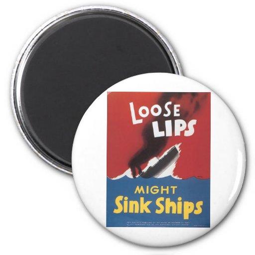 Naves flojas del fregadero de los labios iman para frigorífico