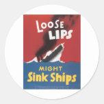 Naves flojas del fregadero de los labios pegatina redonda