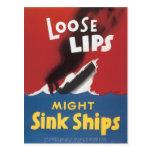 Naves flojas del fregadero de los labios postal