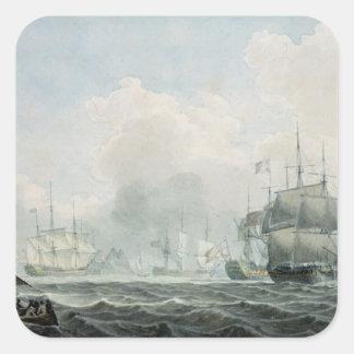Naves inglesas de la guerra pegatinas cuadradases