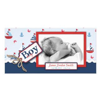 ¡Naves náuticas Ahoy! Invitación del nacimiento Tarjetas Fotograficas Personalizadas