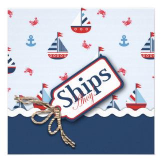 ¡Naves náuticas azules blancas rojas Ahoy Fiesta Invitacion Personal