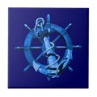 Naves náuticas azules rueda y ancla azulejo cuadrado pequeño