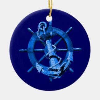 Naves náuticas azules rueda y ancla ornamentos de navidad