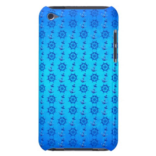 Naves náuticas azules rueda y ancla barely there iPod protectores
