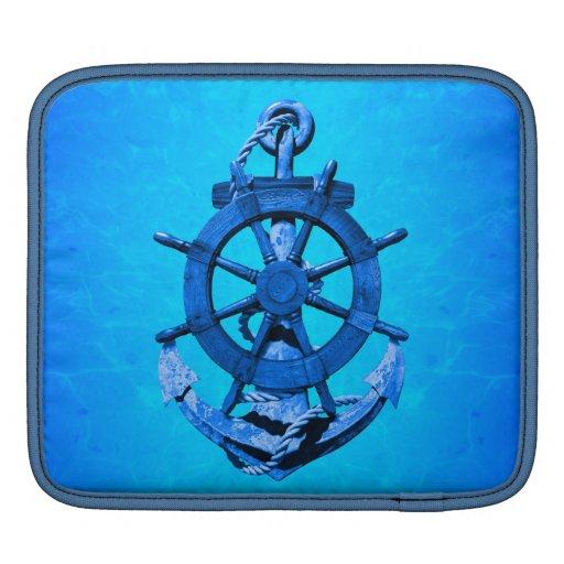 Naves náuticas azules rueda y ancla mangas de iPad
