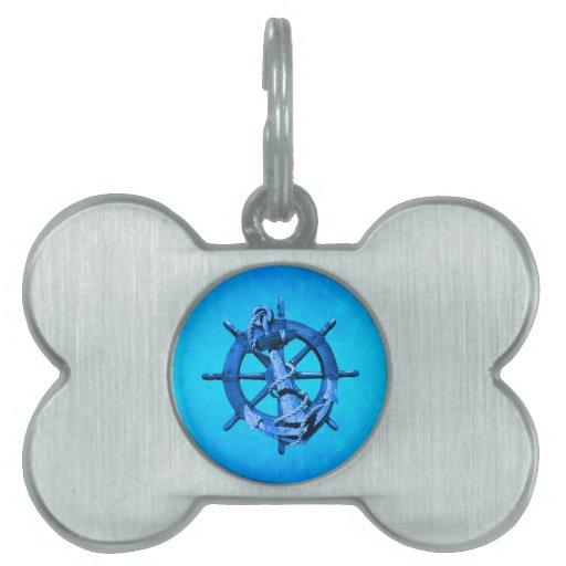 Naves náuticas azules rueda y ancla placas de mascota