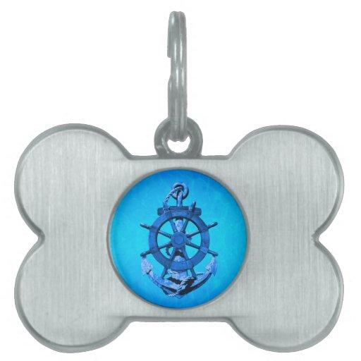 Naves náuticas azules rueda y ancla placa de nombre de mascota