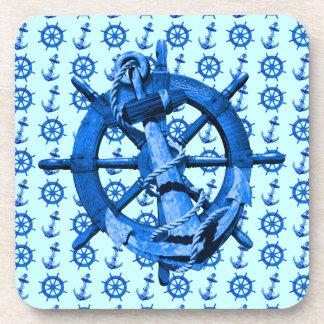 Naves náuticas azules rueda y ancla posavasos de bebidas