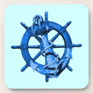 Naves náuticas azules rueda y ancla posavaso