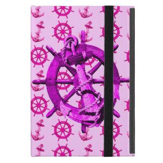 Naves náuticas rosadas rueda y ancla iPad mini carcasa
