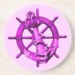 Naves náuticas rosadas rueda y ancla posavasos personalizados