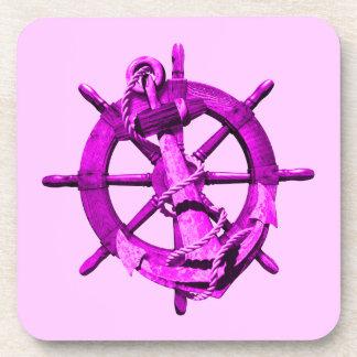 Naves náuticas rosadas rueda y ancla posavasos