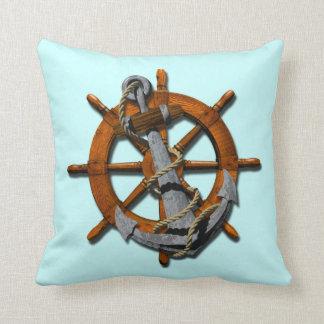 Naves náuticas rueda y ancla cojin