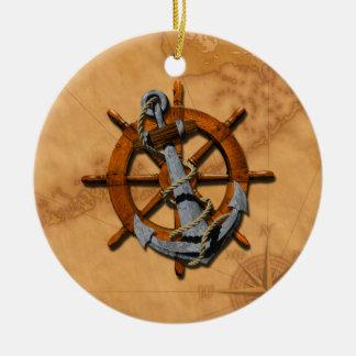 Naves náuticas rueda y ancla adorno