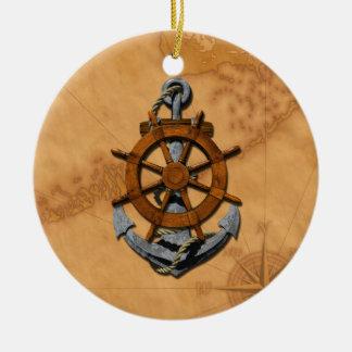 Naves náuticas rueda y ancla adornos