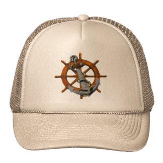 Naves náuticas rueda y ancla gorras