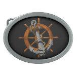 Naves náuticas rueda y ancla hebilla cinturón oval