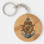 Naves náuticas rueda y ancla llavero