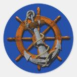 Naves náuticas rueda y ancla pegatinas redondas