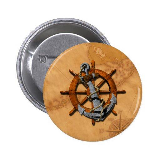 Naves náuticas rueda y ancla pin redondo 5 cm