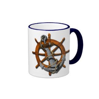 Naves náuticas rueda y ancla taza a dos colores