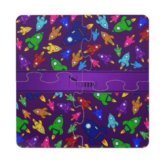 Naves púrpuras conocidas personalizadas del cohete posavasos de puzzle
