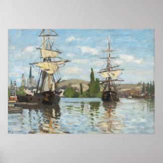 Naves que montan en el Sena en Ruán, 1872-73 Impresiones