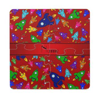 Naves rojas conocidas personalizadas del cohete posavasos de puzzle