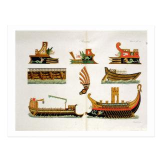 Naves romanas con los detalles de los testaferros, postal
