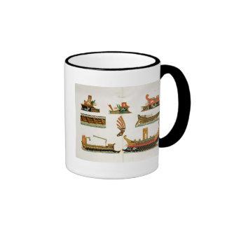 Naves romanas con los detalles de los testaferros, tazas