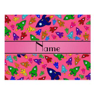 Naves rosadas conocidas personalizadas del cohete tarjeta postal