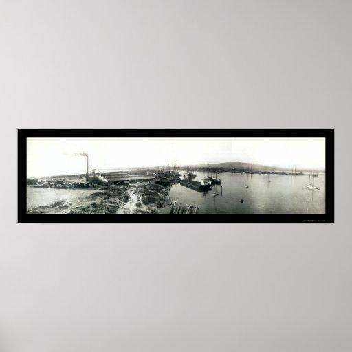 Naves terminales de la isla, foto 1929 de Californ Póster