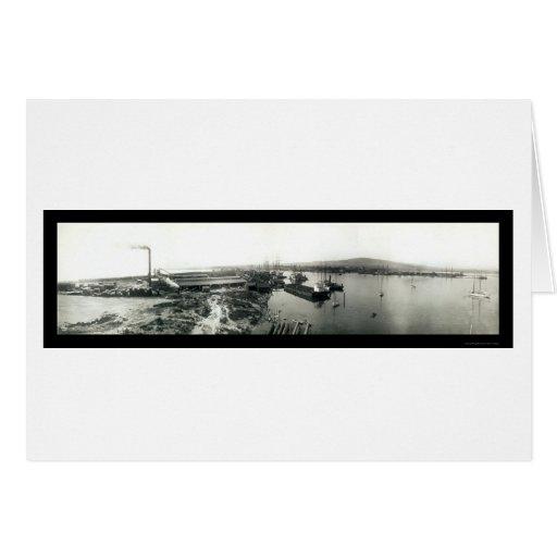 Naves terminales de la isla, foto 1929 de Californ Tarjetón