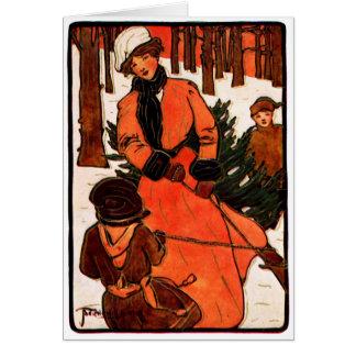 Navidad 1900 de Nouveau del arte Tarjeta Pequeña