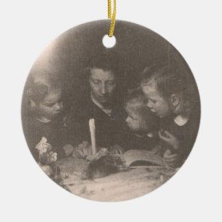 Navidad 1946 - Ornamento Adorno Navideño Redondo De Cerámica