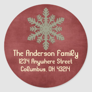 Navidad 1: Remite redondo del copo de nieve 3 Etiquetas Redondas