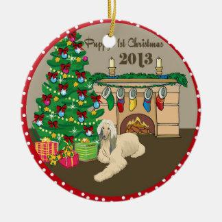 Navidad 2013 de Puppys del afgano primer Ornamentos De Navidad