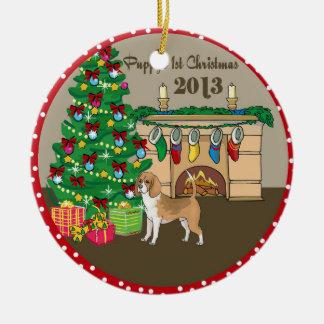 Navidad 2013 de Puppys del beagle primer Adorno Redondo De Cerámica