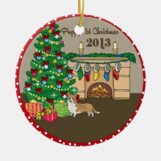 Navidad 2013 de Puppys del Corgi Galés primer Adorno Redondo De Cerámica