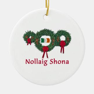 Navidad 2 de Irlanda Adorno Redondo De Cerámica